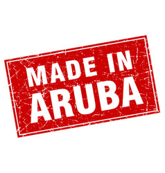 Aruba red square grunge made in stamp vector