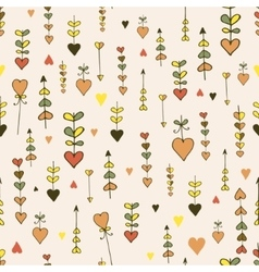 Autumn seamless hand-drawn heart pattern vector image vector image