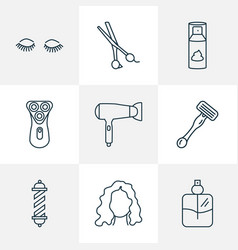 barber icons line style set with curly hair vector image