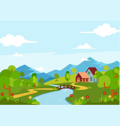 Beautiful spring season landscape view vector