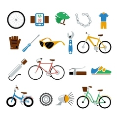 Bicycle bike flat icons set vector image