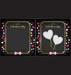 Black valentine day banner vector