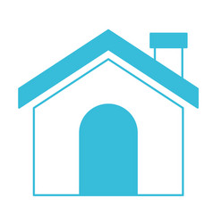 blue color silhouette of house with chimney vector image