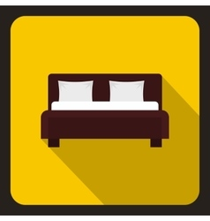 Brown double bed icon flat style vector