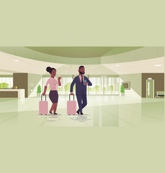 Businesspeople with luggage couple standing at vector