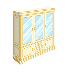 cabinet with glass doors and drawers furniture vector image