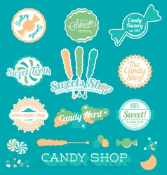 Candy Shop Icons and Labels vector image vector image