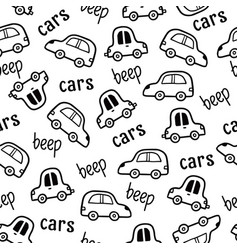 Car pattern doodle sketch style vector