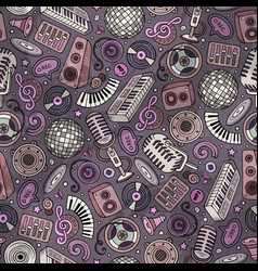 Cartoon hand-drawn disco music seamless pattern vector
