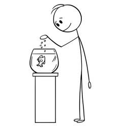 cartoon man feeding fish in fishbowl or tank vector image