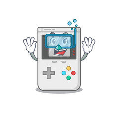 Cartoon mascot featuring handheld game scroll vector