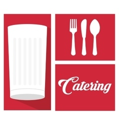 Catering food service milk cup spoon fork knife vector