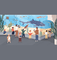 Children in oceanarium flat vector