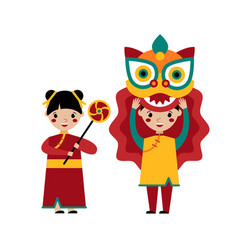chinese traditional lion dance vector image