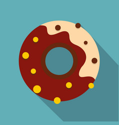 Chocolate donut icon flat style vector