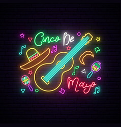cinco de mayo glowing neon sign on dark brick vector image