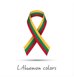 colored ribbon with the lithuanian tricolor vector image