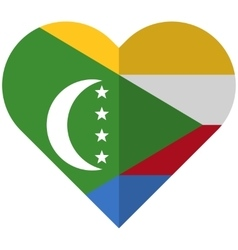 Comoros flat heart flag vector