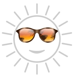 Concept of Smile Sun with Sunglasses vector