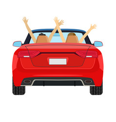 Couple in car driving with arms raised vector