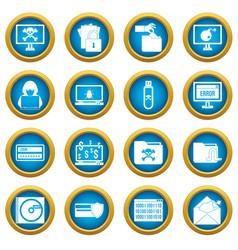 Criminal activity icons blue circle set vector