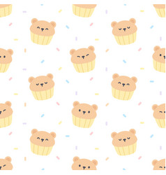 cute bear cupcake seamless pattern background vector image
