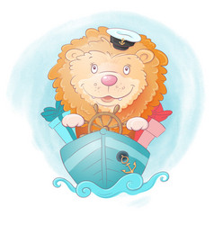 Cute cartoon lion ship captain with gifts vector