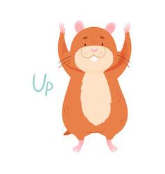 Cute hamster raising paws up demonstrating english vector
