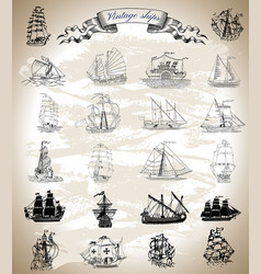Design set with vintage ships vector