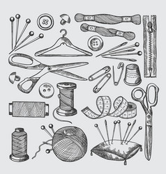 Different tools for sewing workshop vector