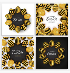 easter egg banner set easter card collection vector image