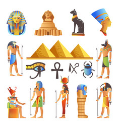 Egypt culture symbols isolated icons of vector