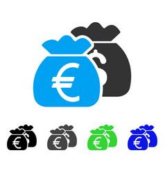 Euro money bags flat icon vector