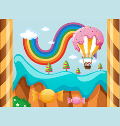 fantacy world with candy balloon over the rainbow vector image