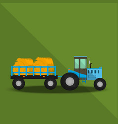 Farm tractor with wagons vector