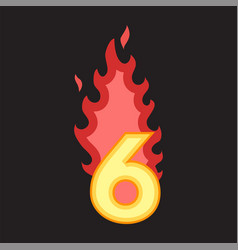 flaming number six vector image