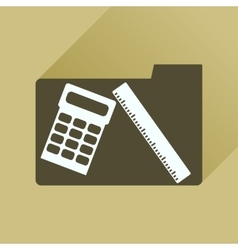 Flat icon with long shadow folder calculator ruler vector