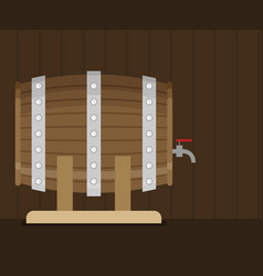 flat wooden barrel icon vector image