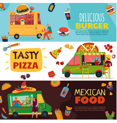 Food trucks banners set vector