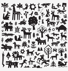 forest animals - icon set design elements vector image