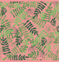 green leaves on pink seamless pattern vector image