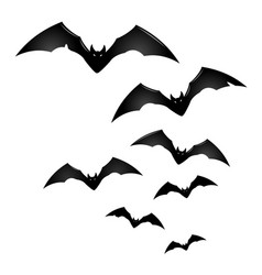 Group of black flying bats vector