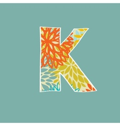 Hand drawn floral letter K isolated on blue vector image