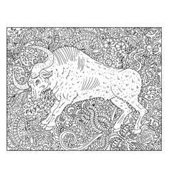 hand drawn ox against floral pattern background vector image