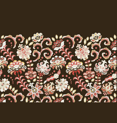 handcrafted motifs - seamless floral border vector image