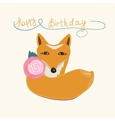Happy Birthday fox greeting card design vector