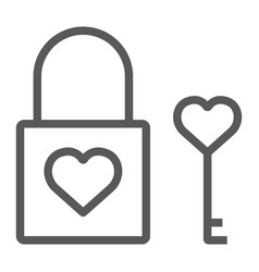 Heart lock line icon valentine and holiday love vector