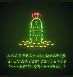 hedgehog cactus in ground neon light icon vector image
