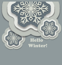 hello winter background with paper snowflakes with vector image