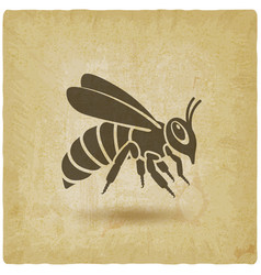 honey bee silhouette on vintage background vector image